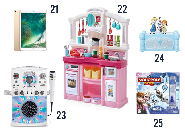 Christmas Gifts for Girls image with products on a white background. products 21-25