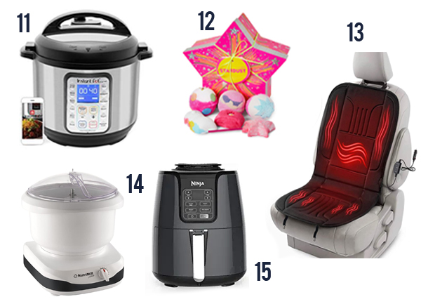 Products like instant pot, bath bombs and other fun gifts for moms.