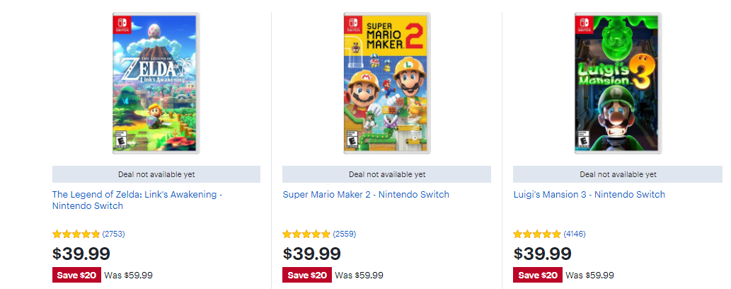 Nintendo Switch games on sale for Black Friday 2020