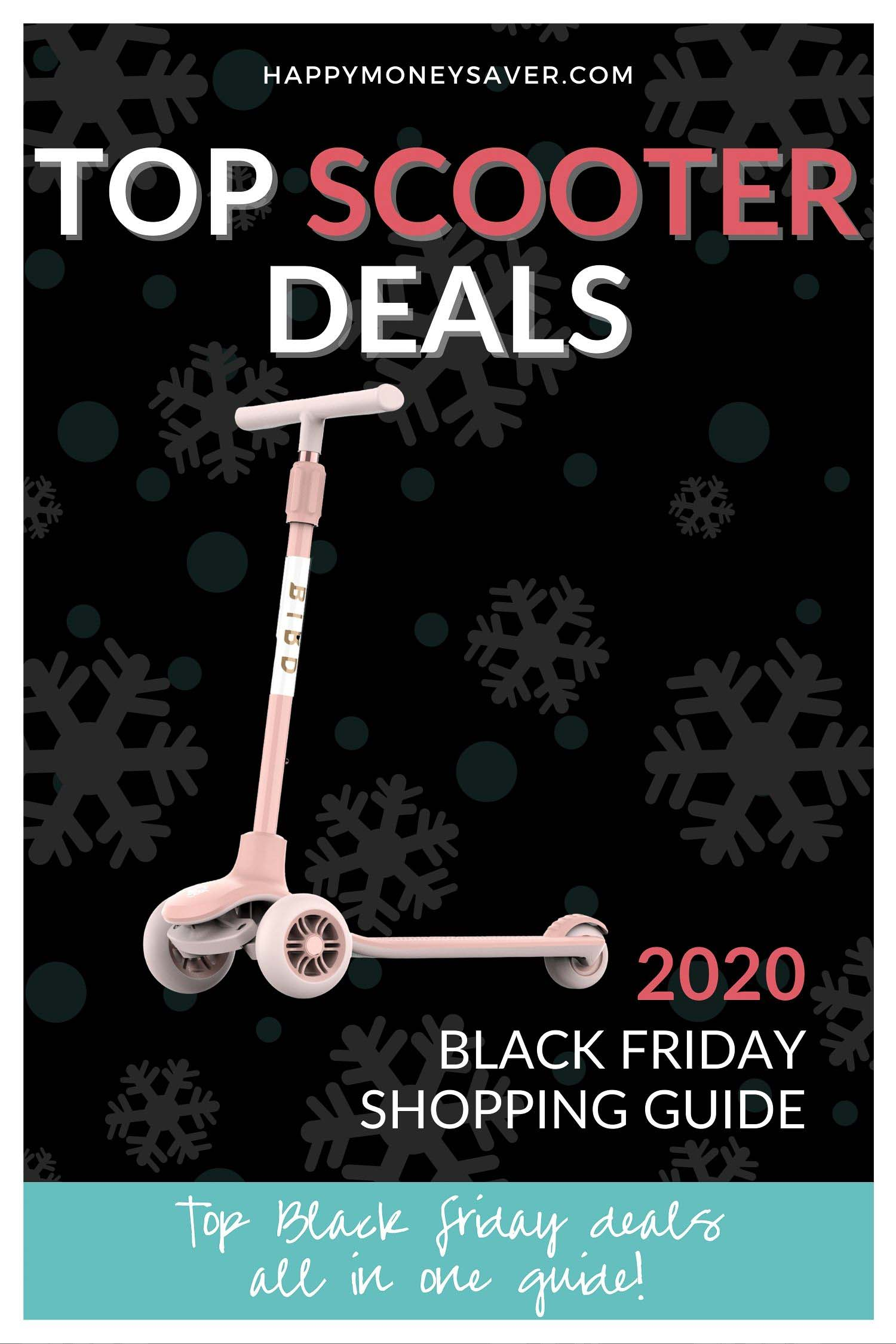 Black Friday Scooter Sale roundup of deals for 2020 graphic with image of scooter on it and words.