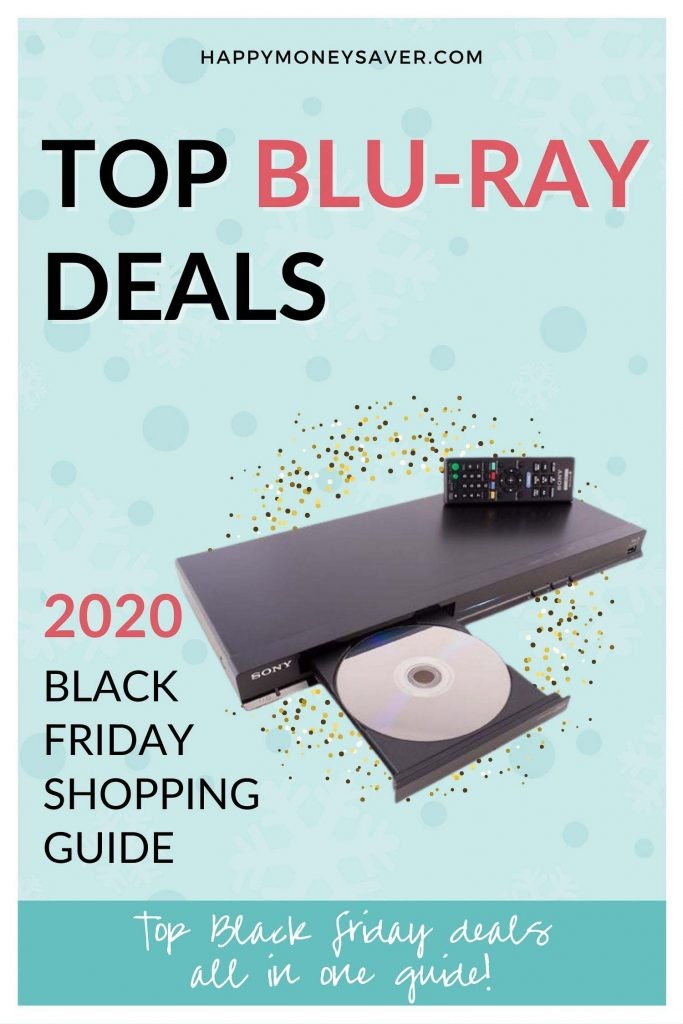 BluRay Deals for Black Friday 2020 graphic image with a bluray player in the center