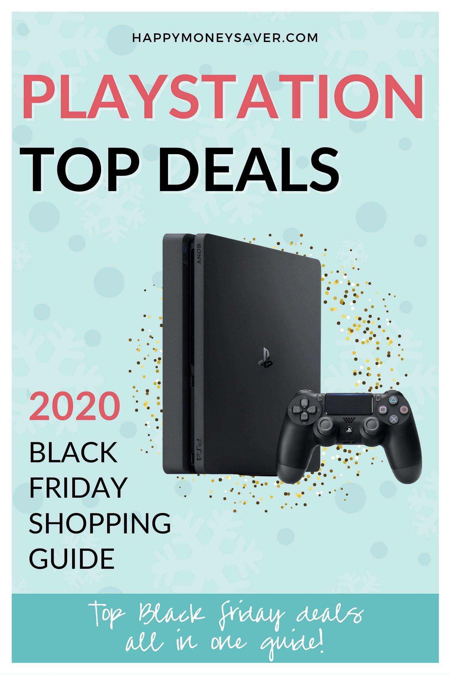 Graphic that says top Playstation deals for black friday 2020. Image of playstation 5 with research by happymoneysaver.com.