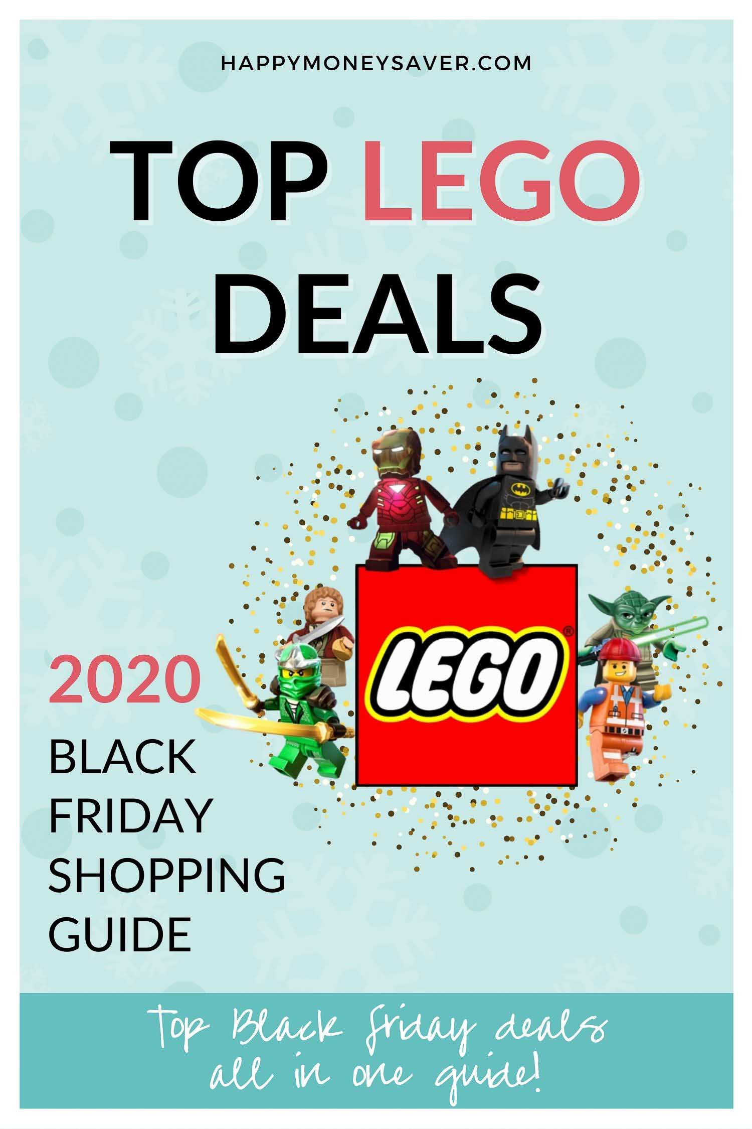 Graphic saying top lego black friday deals for 2020 including duplo, ultra agents, starwars, minecraft, and lego friends.