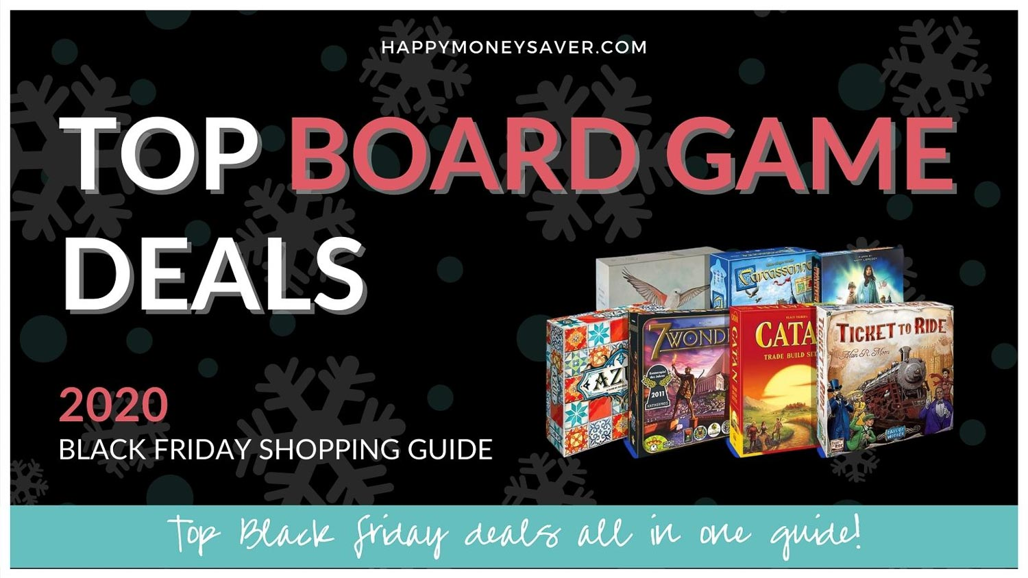 Top Board Game Deals 2020 with game board pictures on the right side with a 2020 shopping guide.