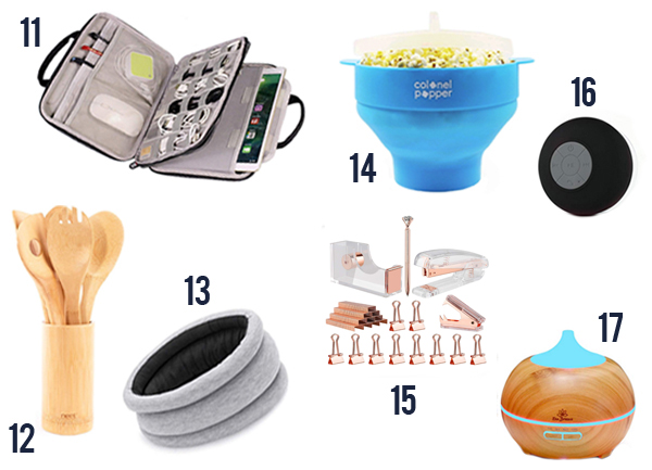 White Elephant creative ideas for this year like popcorn maker, wooden spoons, air purifyer and more. Numbers 11-17.