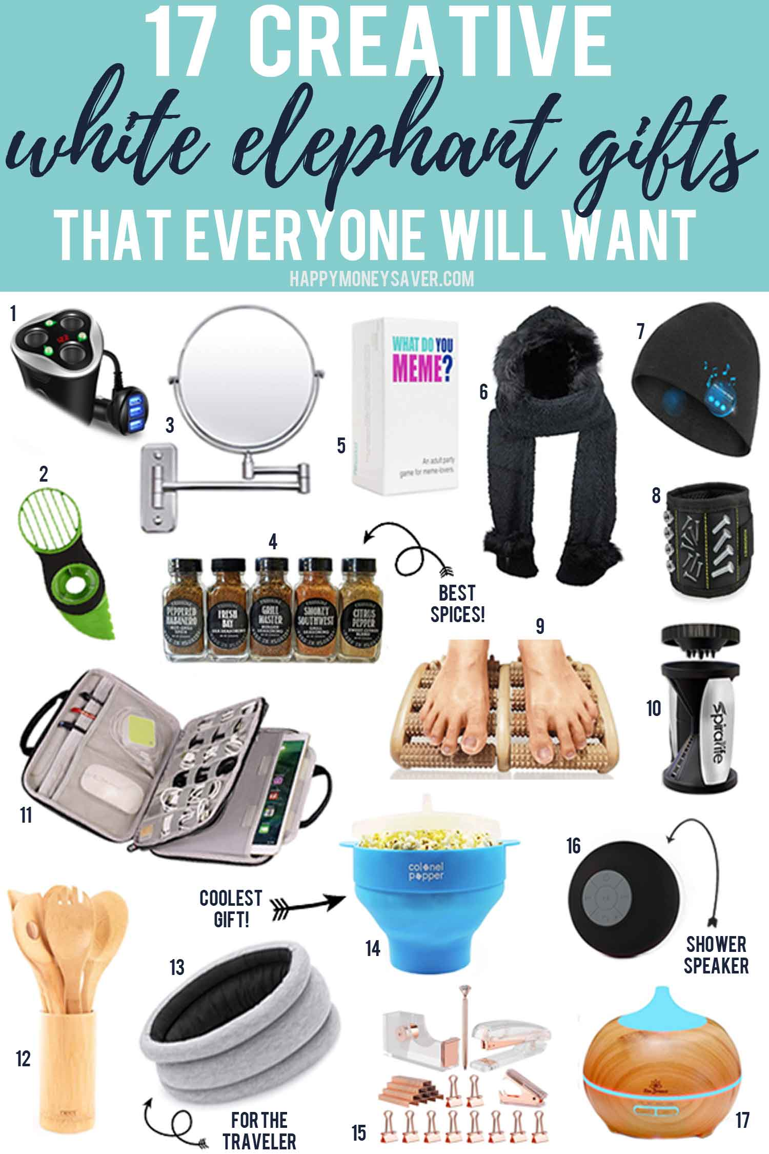 17 Creative White Elephant gifts that everyone will want with pictures of creative items such as popcorn maker, spices, shower speaker and more.