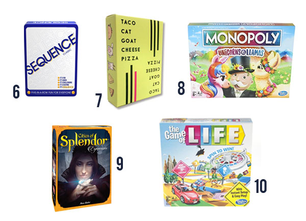 Five board games pics with 1-5: Sequence, Taco Cat Goat Cheese Pizza, Monopoly Unicorns and llamas, Cities of Splendor, The Game of Life.