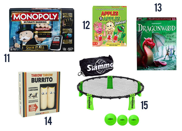 Five board games pics with 11-15: Monopoly, Apples to Apples Junior, Dragonwood, Throw Throw Burrito and Slammo.