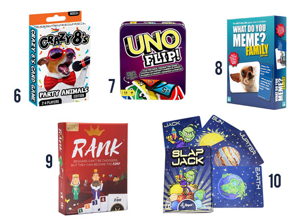 Family card games that everyone will love like Crazy 8's, UNO and What Do You Meme.