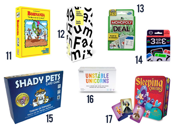 Family card games that everyone will love like Unstable Unicorns, Shady Pets and Monopoly Deal.