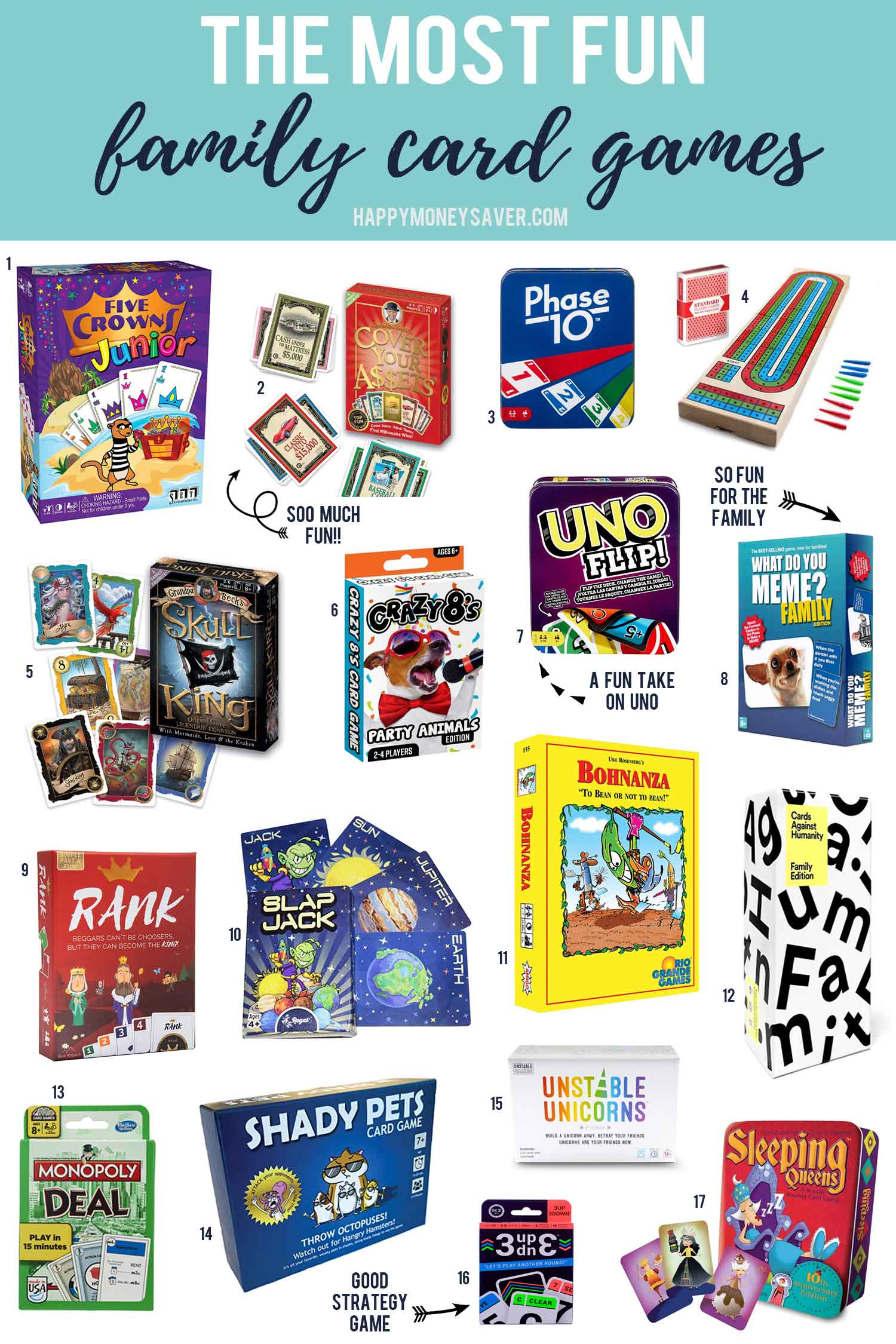 The most fun family card games. image with lots of product images each with a corresponding number on it.