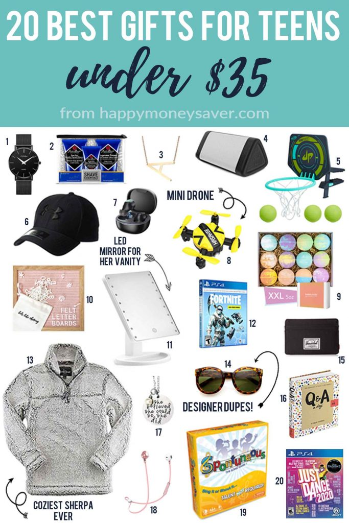 Image of 20 best gifts for teens under $35 from Happymoneysaver.com with numbered images of each item such as 6. hat, 7 wireless headphones.