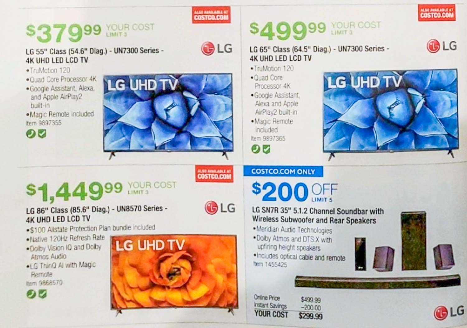 costco 2020 black friday ad scans with tv deals