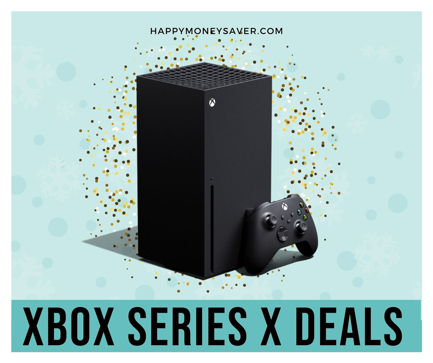 Xbox Series X Black Friday deals 2020 graphic with the new series x on a blue background with confetti behind it.