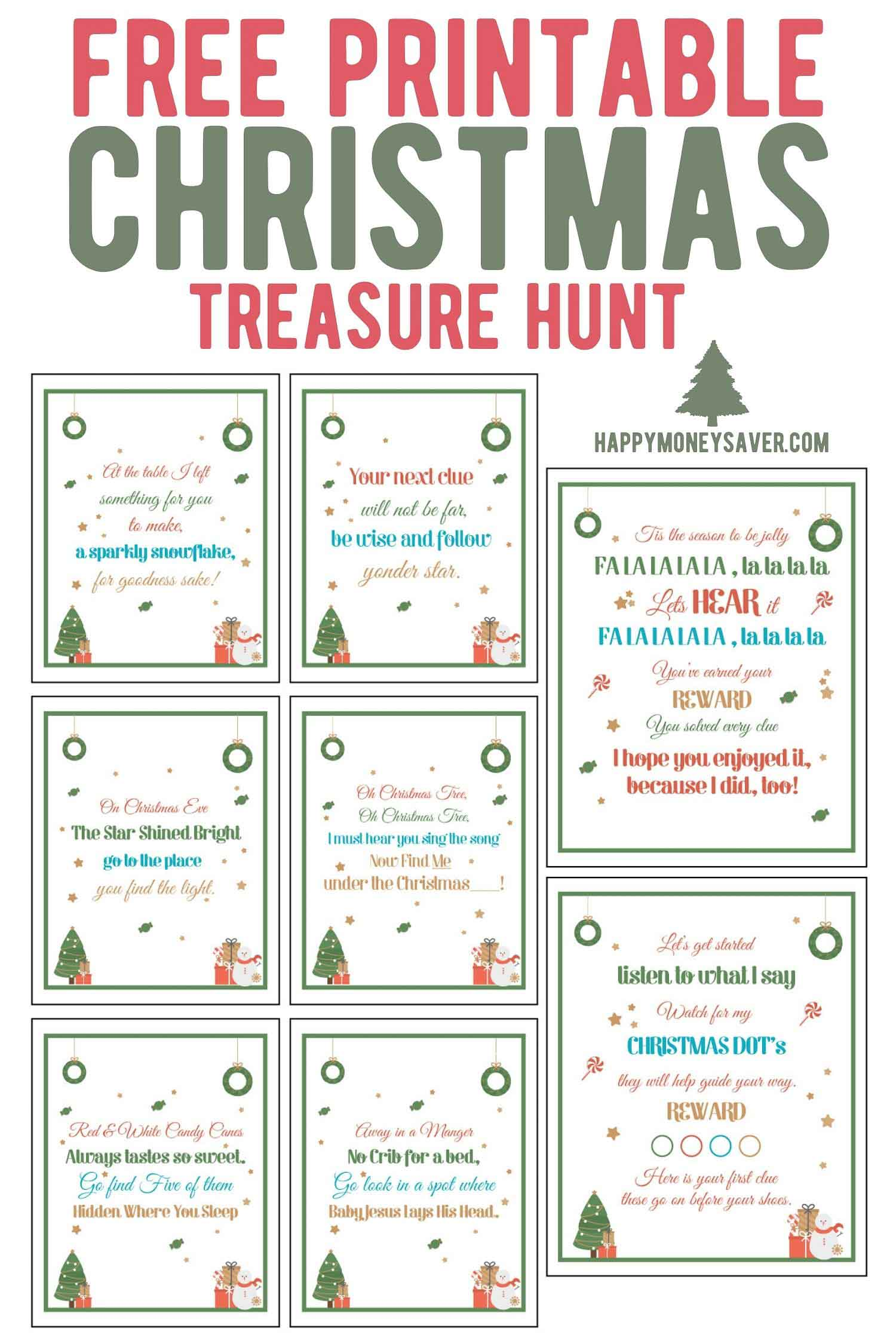 A picture of the free printable Christmas treasure hunt and all the clue cards.
