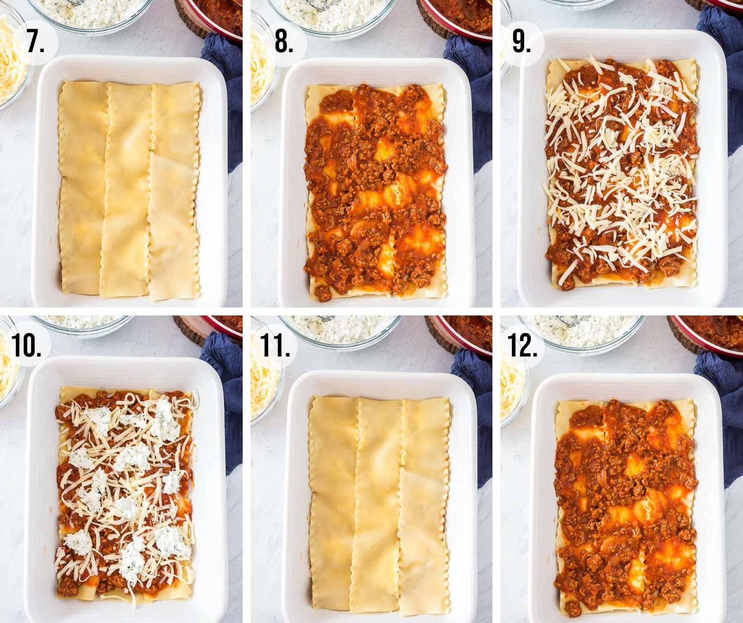 Process shots 7-12 of the making of lasagna. Adding noodles, sauce, cheese layers and then more sauce.