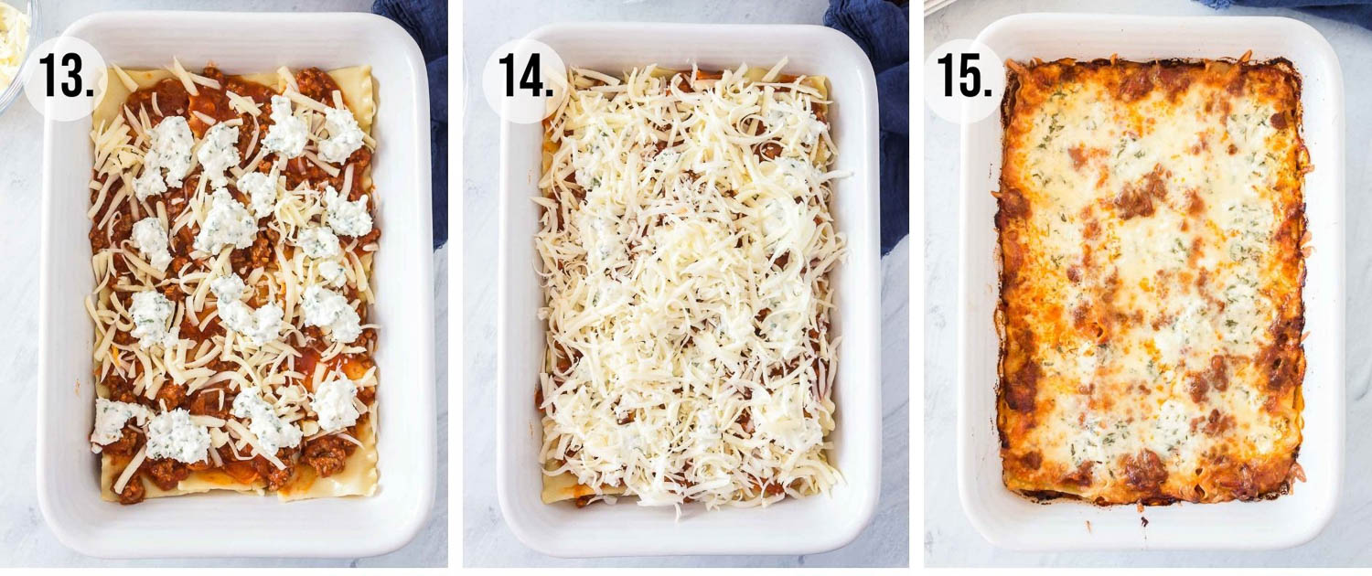 Process shots 13-15 of the making of lasagna. Adding cheese layers and then cooking it.