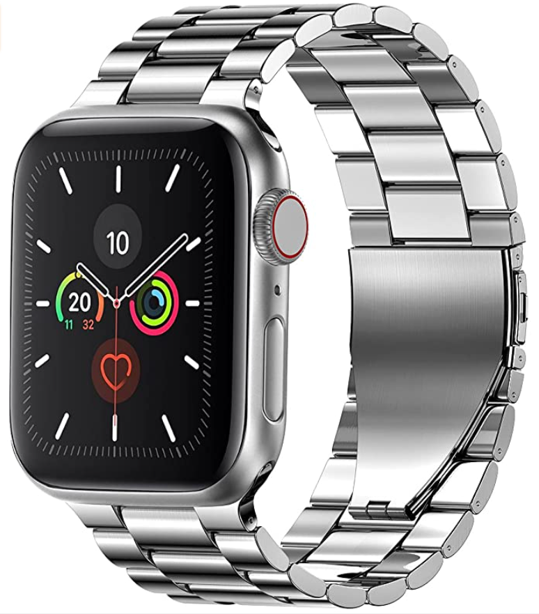 A stainless steel metal band holding an apple watch.